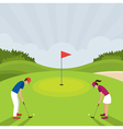 Man and Woman Playing Golf vector image