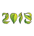 number 2018 eco style with gradient green leaves vector image