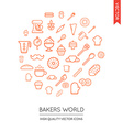 Set of Bakery Modern Flat Thin Icons Inscribed in vector image