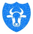 bull shield icon grunge watermark vector image