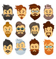 hipster barbershop cartoon european people with vector image