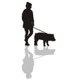 Woman with a pig on a leash vector image vector image