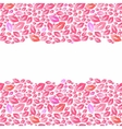 Seamless watercolor borders with lip stains on the vector image