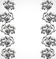 Hand-drawn vertical border flowers of lily vintage vector image