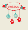 Christmas celebration card with hanging balls and vector image