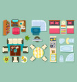 flat interior top view pieces of furniture design vector image