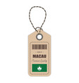 hang tag made in macau with flag icon isolated on vector image