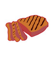 isolated grilled meat vector image