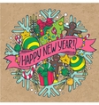 New Year greeting card with holiday stuff vector image