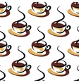 Seamless pattern of coffee cups with steam vector image