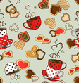 Seamless pattern of teacups and cookies vector image