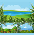 three scenes of nature at daytime vector image