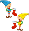 Elf Mascot Holding Stocking vector image vector image