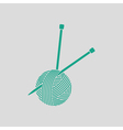 Yarn ball with knitting needles icon vector image vector image