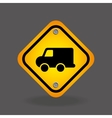 delivery truck yellow road street sign vector image