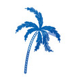blue shading silhouette of palm tree vector image