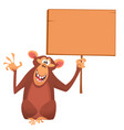 cartoon lovely monkey holding a wooden sign vector image