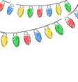hand drawn Christmas lights isolated on white vector image