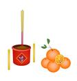 Ripe Orange Fruits for New Year Worship vector image