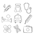 Sketched medical and healthcare icons vector image