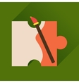 Flat icon with long shadow puzzle brush vector image