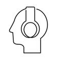 Black silhouette head with headphones vector image