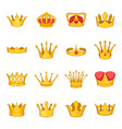 crown icons set cartoon style vector image