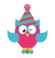 owl bird cute with hat party icon vector image