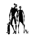 skateboard silhouettes of woman and man vector image