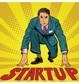 Startup retro businessman on starting line vector image
