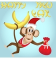 Monkey in a New Year clothes with a bag of gifts vector image