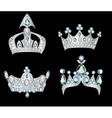 set silver crowns vector image