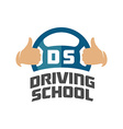 Driving school logo template Steering whell with vector image