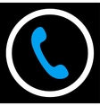 Phone flat blue and white colors rounded vector image