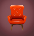 Red armchair with wooden legs vector image