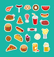 fast food sticker set signs of feed icon vector image