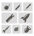 monochrome icons with bombs vector image