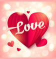 Red folded paper heart with pink 3d Love sign at vector image