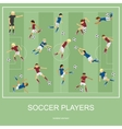 Set of soccer players vector image