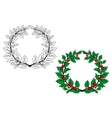 Holly christmas wreath vector image vector image