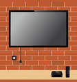 modern tv with blank screen on brick wall and tv vector image