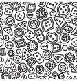 Seamless hand drawn doodle pattern with buttons vector image