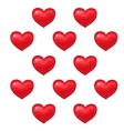 Cartoon red hearts pattern on white background vector image