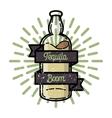Color vintage tequila emblem vector image