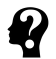 Human head silhouette with a question mark vector image