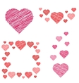 Set of hearts compositions in sketch style vector image