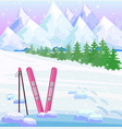 ski winter background snow mountains view vector image