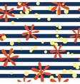 Striped pattern with flowers vector image
