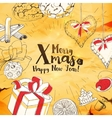Vintage Christmas Card With Sketches vector image