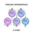 modern 5 steps timeline infographic template vector image